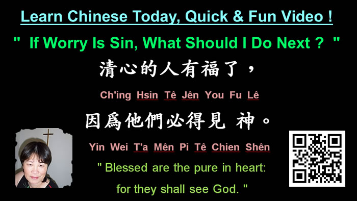 """Learn Chinese Today, Quick & Fun ! """" If Worry Is Sin, What Should I Do Next ? """""""